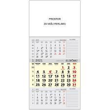 Kalendar 2021 trodjelni  sivi- bez spirale