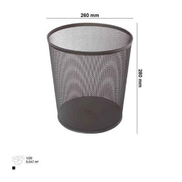Koš za smeće žica 3A-1145 crni/okrugli