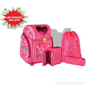 Školska torba SET 5/1 408598 RED HEART led lock